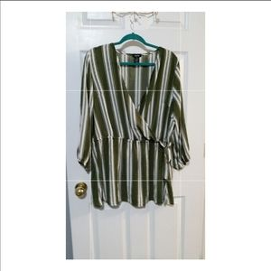 Long Sleeve Wrap Style Striped Blouse